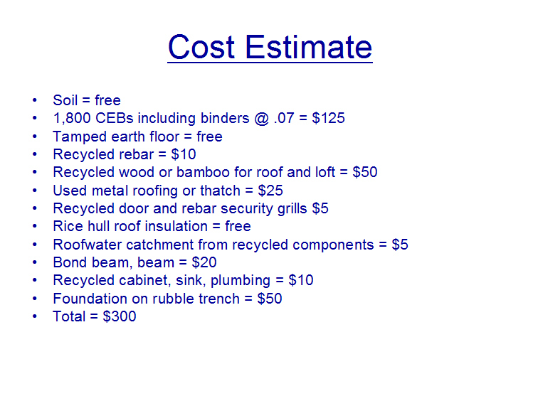 300 geopolymer ceb house 39 the 300 house 39 challenge for Estimated cost of building a house