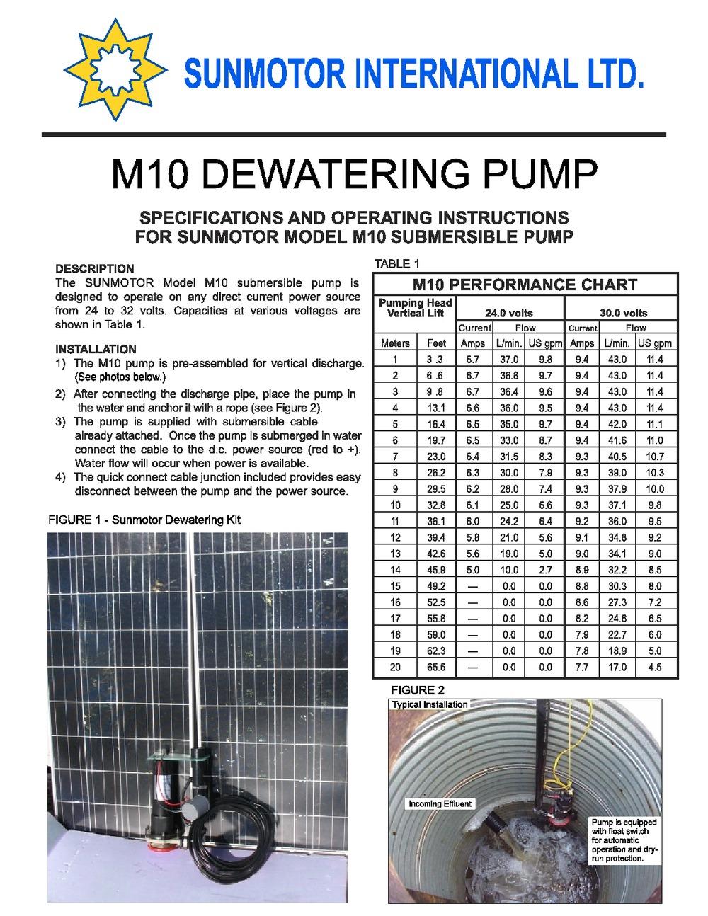 Sunmotor pump in a well bigger
