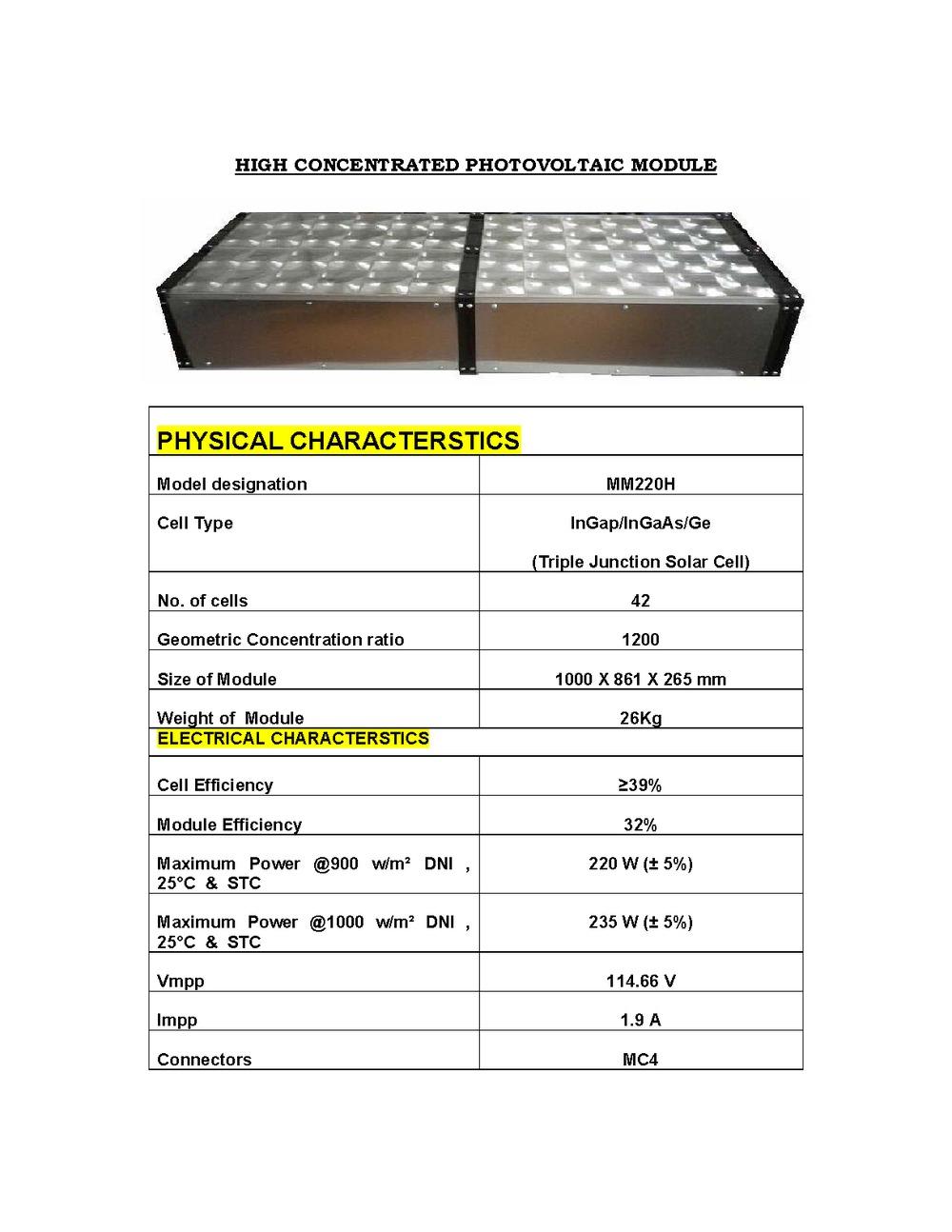 Hcpv module 220w data sheet bigger
